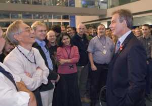 Tony Blair meeting the Diamond staff. Press photo by Diamond