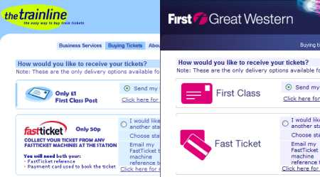 TheTrainLine and First Great Western rail ticket sites
