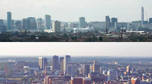 Skylines of Birmingham, West Midlands (top) and Birmingham, Alabama (bottom)