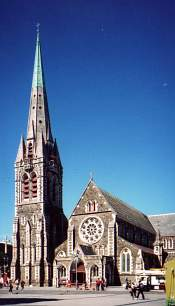 "Christchurch Cathedral; from photo by Wikimedia Commons user ""Lover of Romance"", used under Creative Commons Attribution-Share Alike 3.0 Unported license"