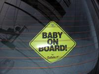 Baby on board sticker in a car window - Photo by Steve and Sara Emry on Flickr, used under terms of a Creative Commons Licence