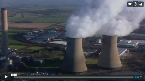 "Opening frame of ""Come home to the Simpsons"" showing Didcot Power Station"