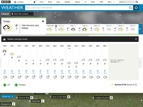The new BBC Weather website, with forecasts from MeteoGroup